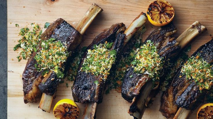 English short ribs are cut lengthwise along the bone, so the meat sits on top. With a day or two of notice, any butcher should be able to cut them to order, then slow cook them and serve with gremolata.