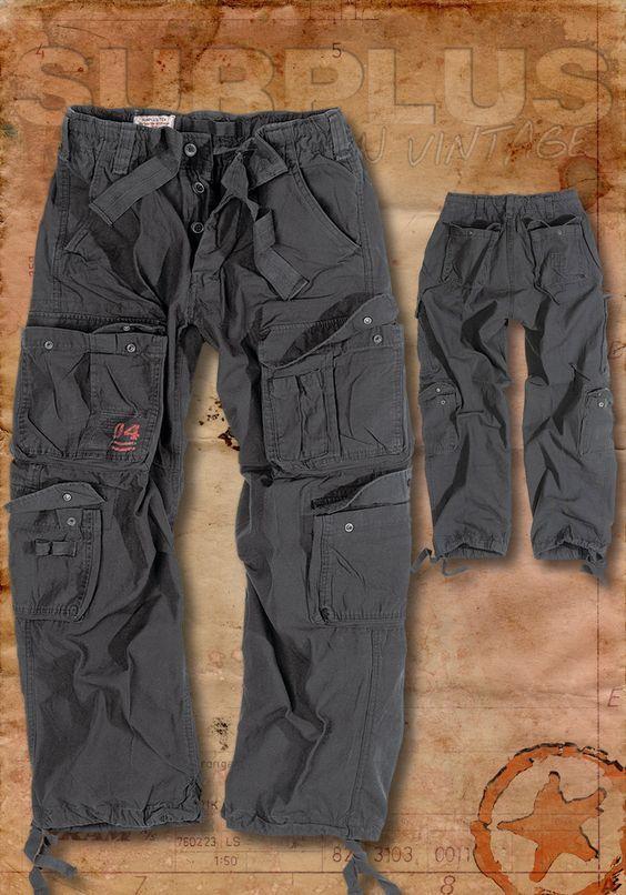 Surplus Airborne Vintage Mens Combat Cargo Pants Army Military Trousers  Black  94b5fa18c1cf1