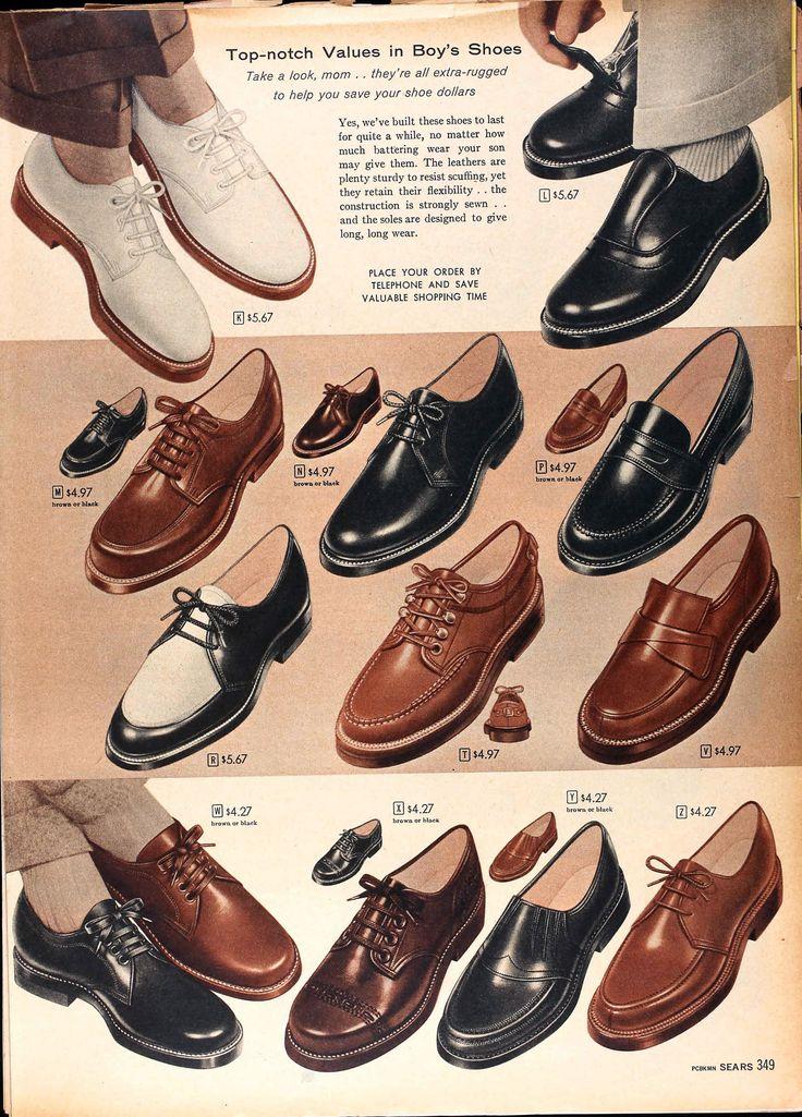 Sears Catalog, Spring/<b>Summer</b> 1958 - Boys' <b>Shoes</b>   ретро мода в ...