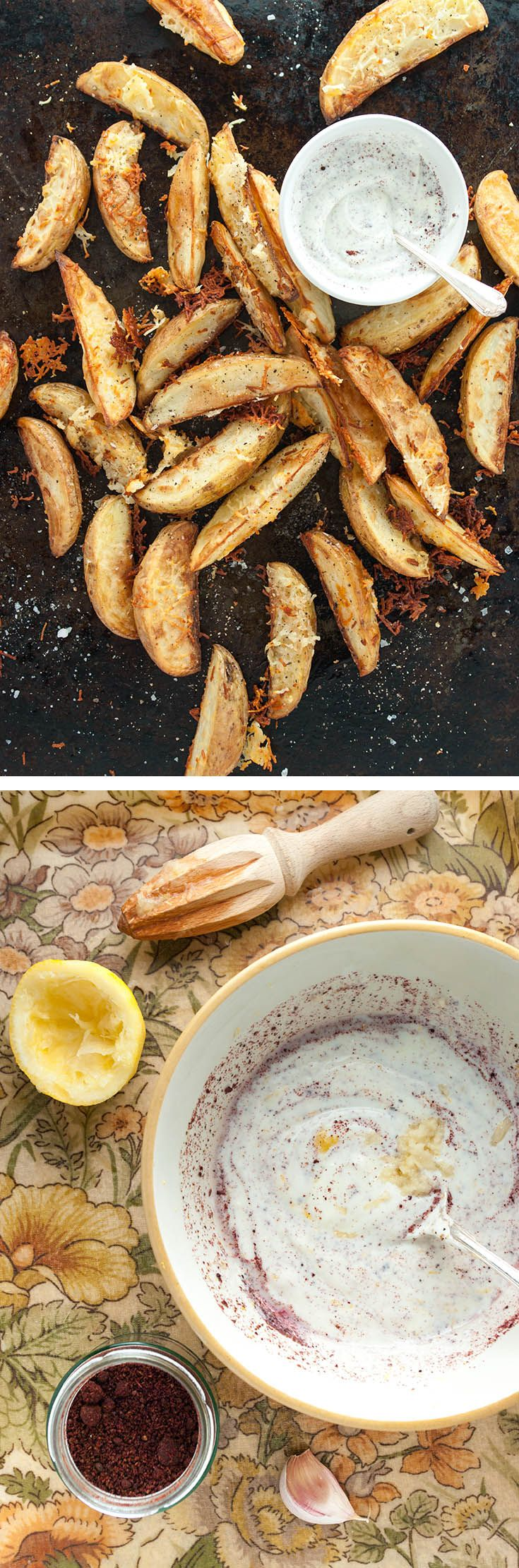 Caramelised halloumi potato wedges with sumac yoghurt – from How to Cook Halloumi cookbook by Nancy Anne Harbord. Baked potato wedges with crispy halloumi coating and sumac yoghurt dip. By @deliciouscratch | deliciousfromscratch.com