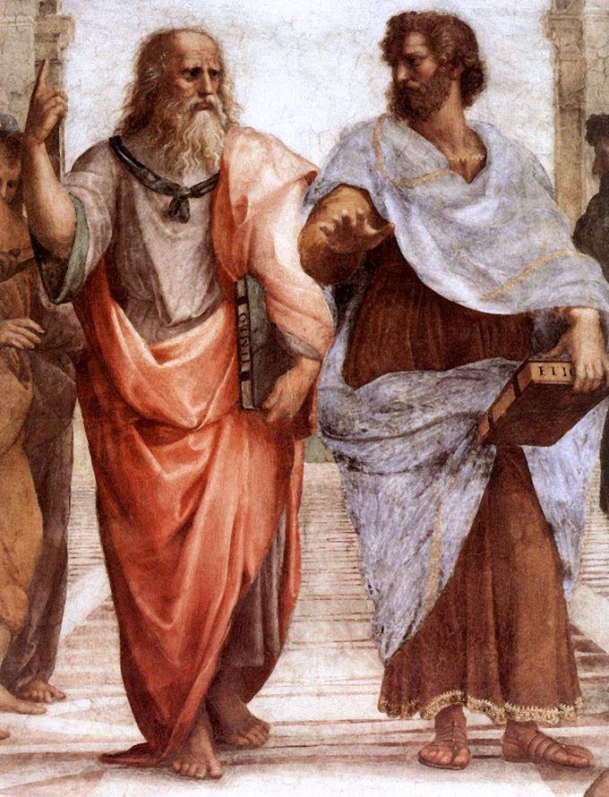 Raffaello-Scuola di Atene(dettaglio Platone e Aristotele ),Stanza della Segnatura,Musei Vaticani