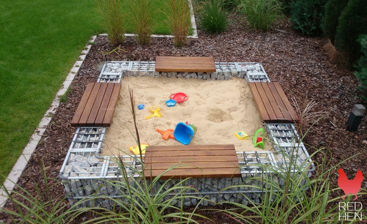 Inspirasjon | Veslemona - gabion sandkasse med benker og lekesand 4
