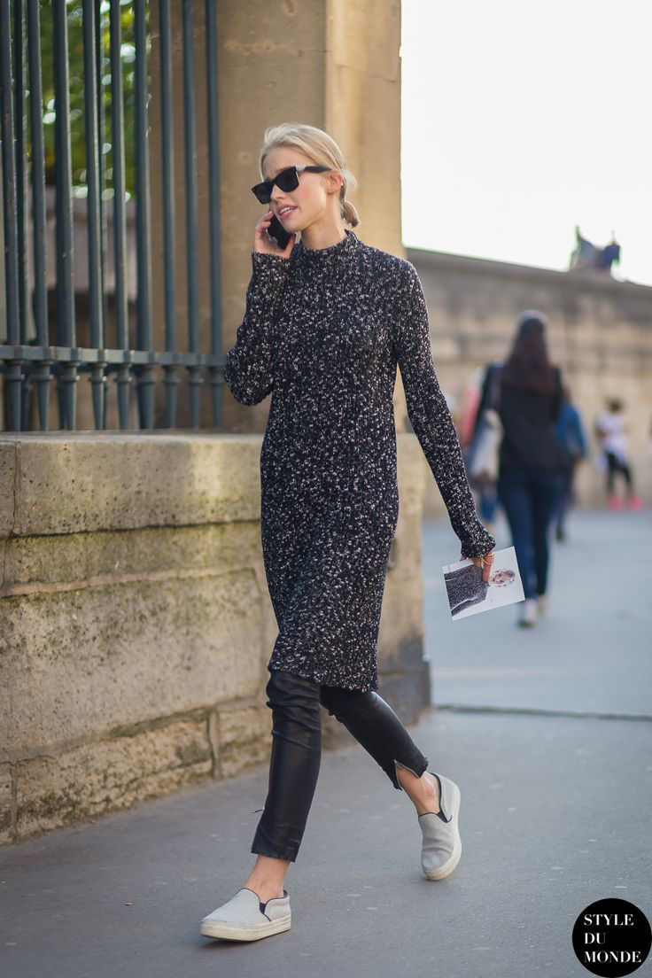 Sasha Luss paired sweater dress w/ leather pants #StreetStyle