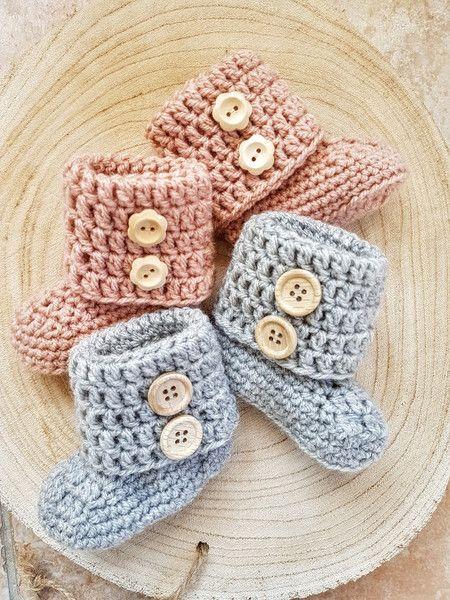 Gebreide & gehaakte schoenen - Tweeling set gehaakte baby booties, baby slofjes - Een uniek product van FrisianKnitting op DaWanda