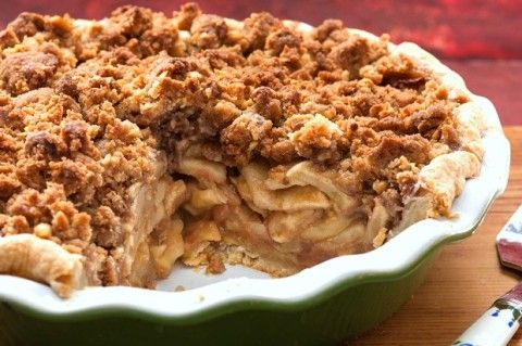 """Classic Apple Pie with Streusel Topping. Perfectly sweetened, just enough cinnamon, and a good story to go with it. """"In one half hour, you will have the most delectable apple pie your tongue has ever experienced."""" -- playwright Lawrence Thelen, from his play """"Pie in the Sky."""""""