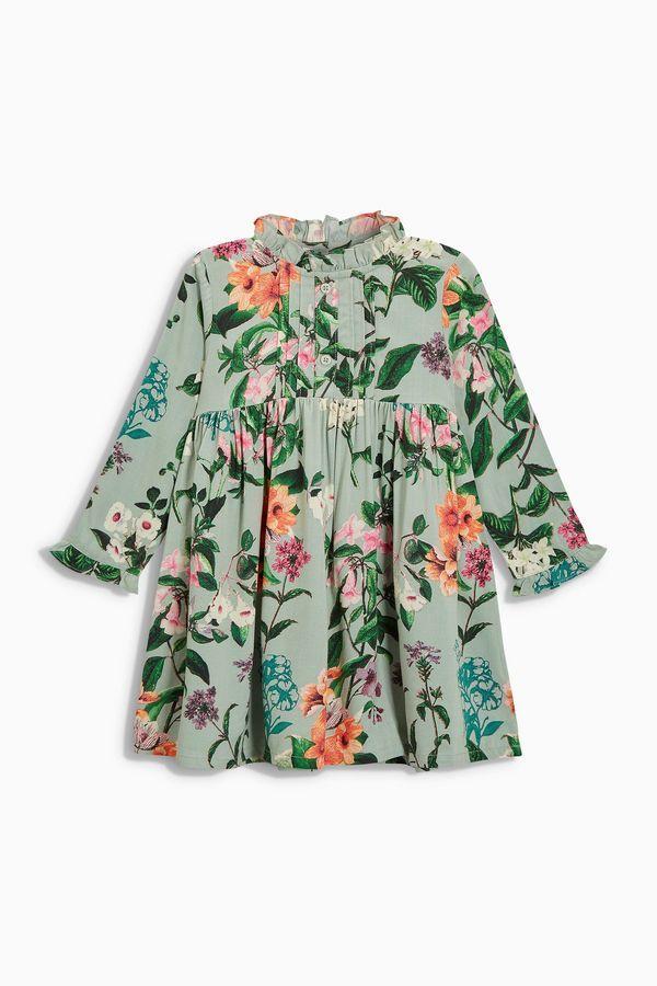 Mint Floral Frill Sleeve Dress (3mths-6yrs)