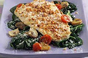 Baked Flounder Amandine over Spinach
