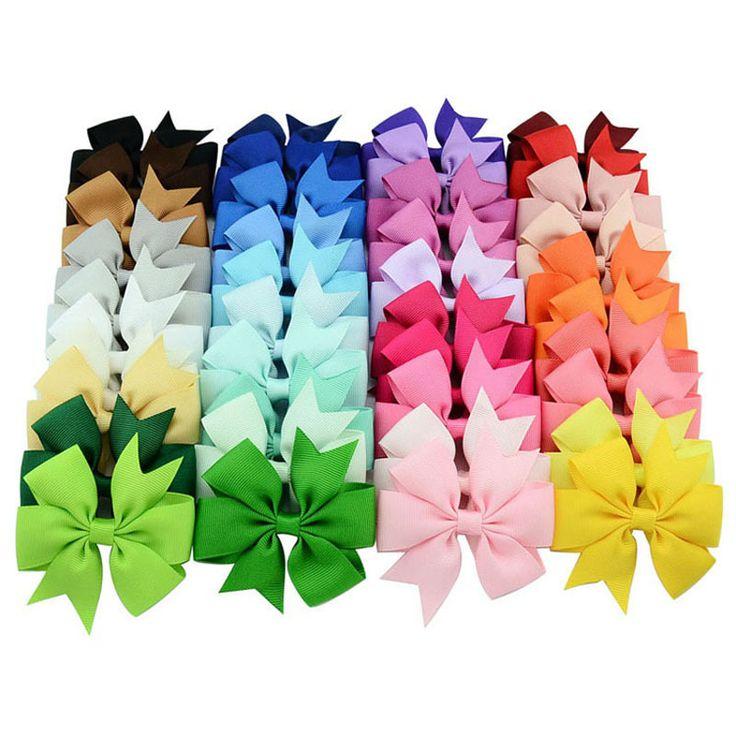 3 Inch Grosir Baru Grosgrain Pita Padat Kupu-kupu Busur Jepit Rambut Klip untuk Anak Anak Gadis Bayi Aksesoris Rambut