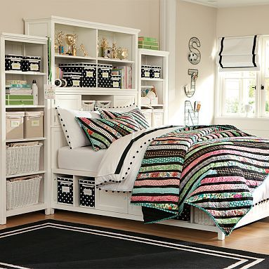 I want to get this bed for both the girls.   It would solve the problem of their small rooms with all the extra storage!