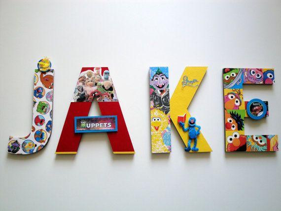 Letters voor een kinderkamer. Print van de muppets.