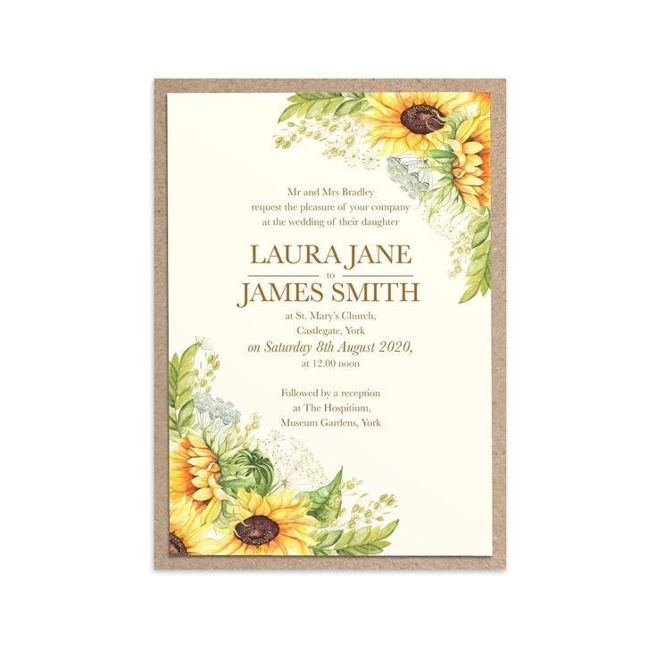 Rustic Sunflower Wedding Invitations, Rustic Wedding, Country Wedding Invitation, Sunflowers, Sunflower Invitation, 10 Pack