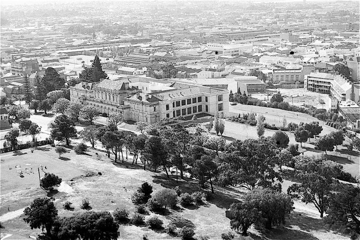 BA2741/207: Aerial view showing Parliament House and the rear view of the Pensioner Barracks.  https://encore.slwa.wa.gov.au/iii/encore/record/C__Rb4636057