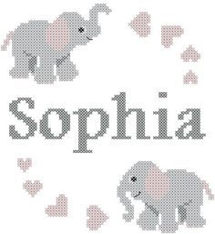 Modern Baby Cross Stitch Pattern with Elephants, Hearts and personalized name