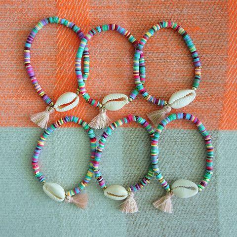 Cowrie shell - Pink tassel bracelet                                                                                                                                                                                 More