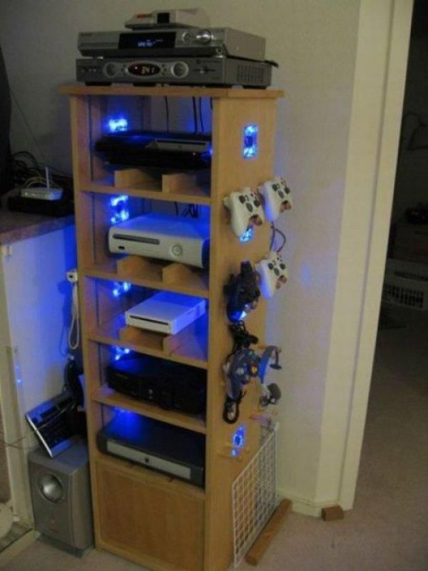 Neat idea. Maybe in one of the back cupboards, hidden away, to use when the projector screen drops down