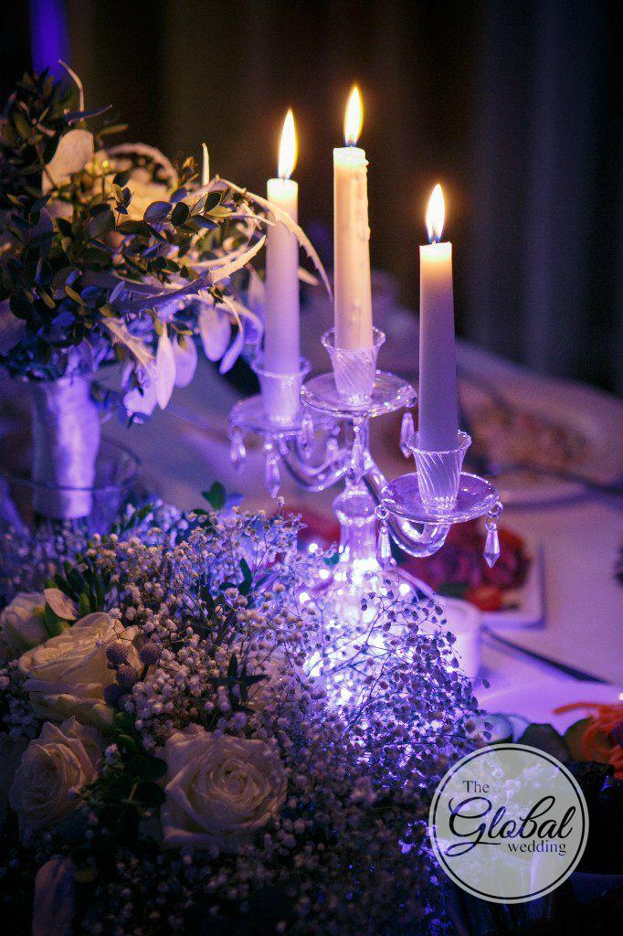 Winter wedding decor candles. Свадебный декор