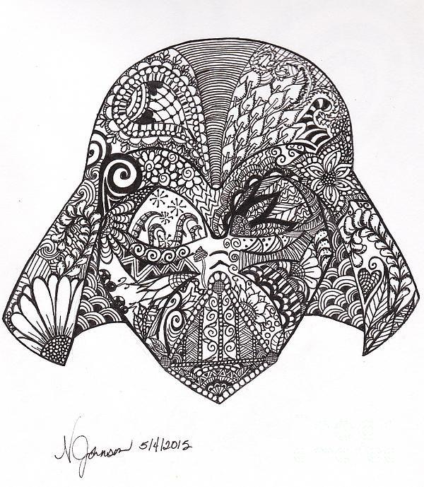 Darth Vader, Doodle Art, Zen Doodle, Zen Drawing, Zentangle Inspired, Star Wars, Anakin Skywalker, Abstract, Black and White