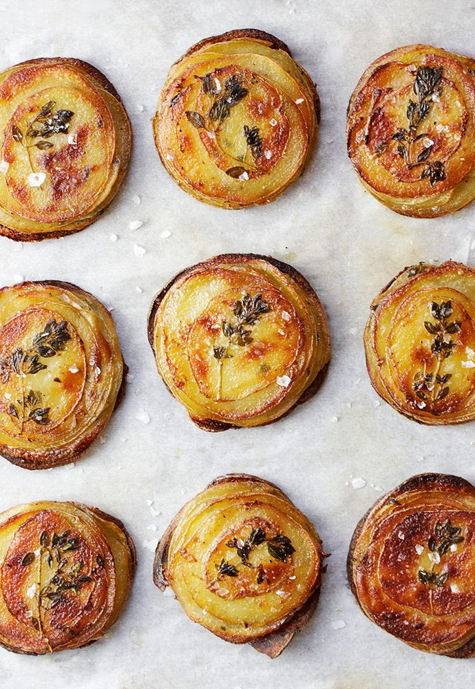 Mini Pommes Anna - lovely stacks of herbed potatoes and so easy to make too!