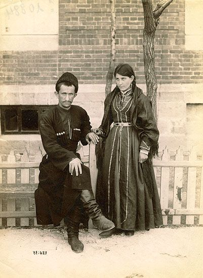 A Lezgi couple in traditional costumes Clothing style;: early 20th century. The Lezgians / Lezgi are an ethnic group living predominantly in southern Dagestan and northeastern Azerbaijan and who speak the Lezgian language.