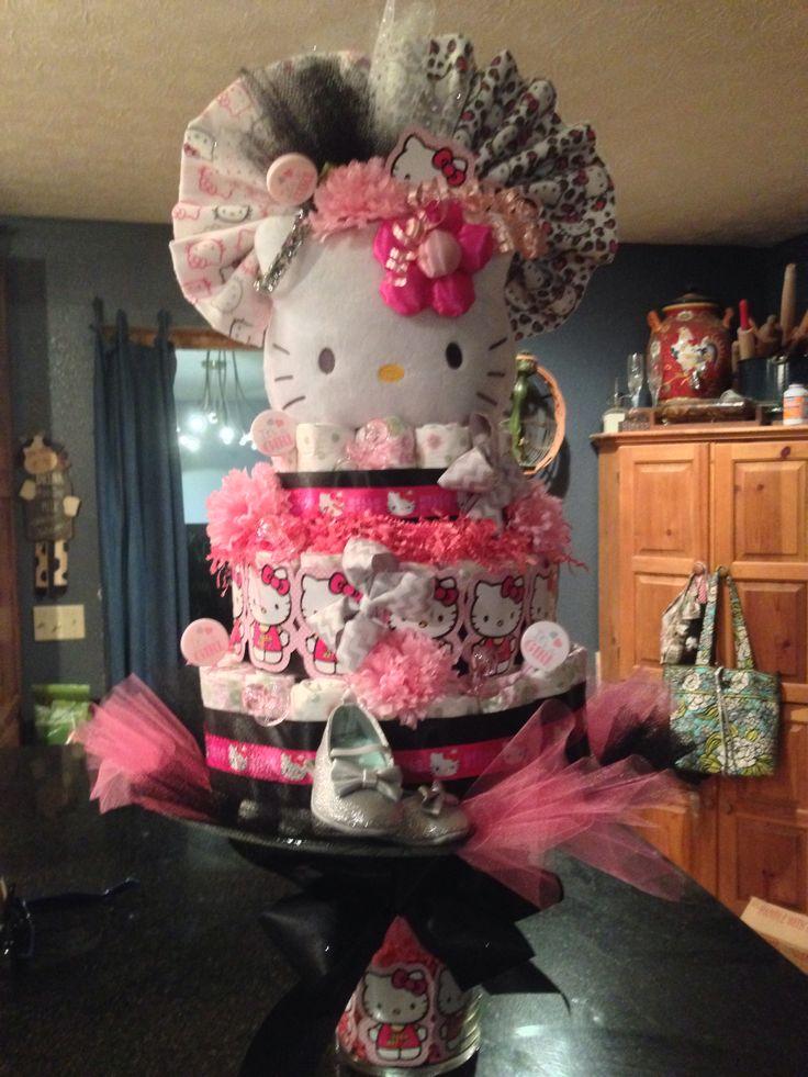 How To Make A Hello Kitty Diaper Cake