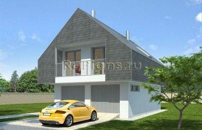 Проект одноэтажного дома с мансардой и гаражом для узкого участка R357z (Зеркальная версия) в Иркутске