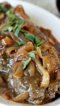 Hamburger Steak with Onions and Gravy Recipe ~ Says: This is an easy-to-make classic Southern favorite. Dress up ground beef with rich brown gravy and caramelized onions.