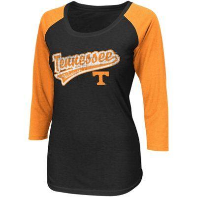 Tennessee Volunteers Ladies Short Stop Three-Quarter Sleeve T-Shirt - Black/Tennessee Orange