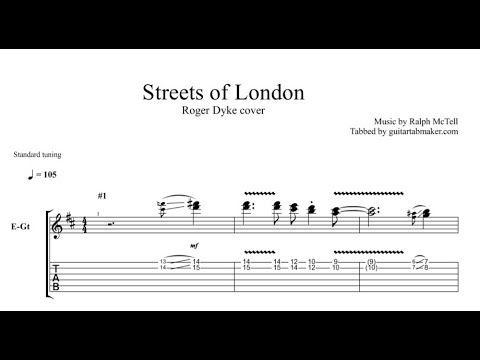 Streets Of London instrumental guitar tabs (easy) - pdf guitar sheet music download - guitar pro tab video