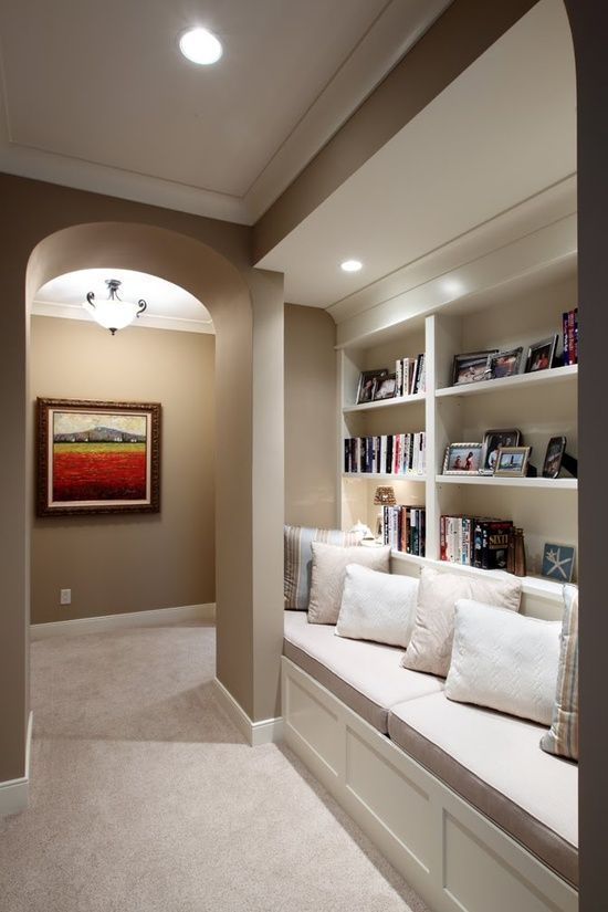 Hallway Library...clever idea to use space and make it functional:) Very nice....