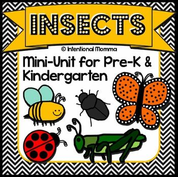 Insects and Bugs printable Pre-K and Kindergarten mini-unit worksheets for spring, including no prep math centers, coloring, mini books, and more!