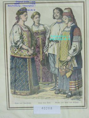 Ок 1885-Russland-Russia-JAROSLAW-TVER-KALUGA-Trachten-Hand Koloriert-hand colored   eBay