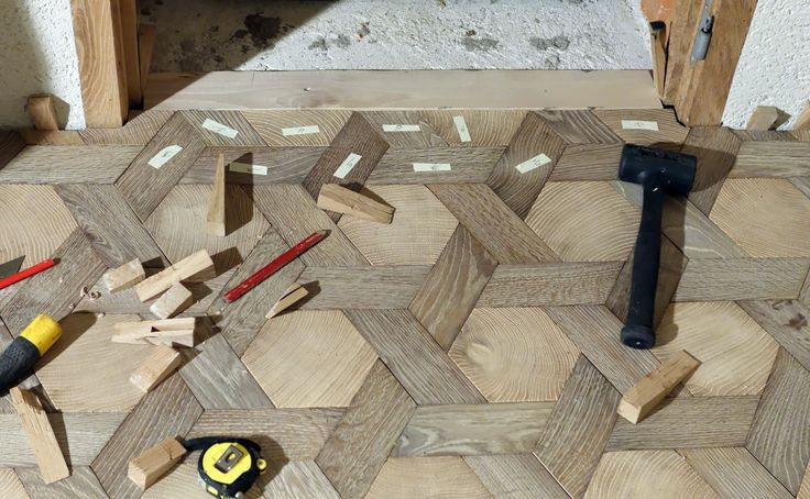Assemblage Bois Hexagone : Wood Block End Grain Flooring