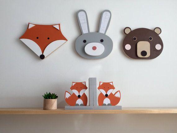 Tête d'animal Nursery décor ours lapin renard par MapleShadeKids