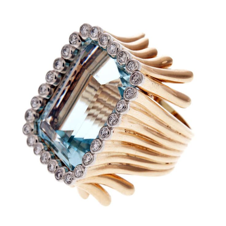 VERDURA Aquamarine Diamond 'Piped' Designer Ring | From a unique collection of vintage cocktail rings at http://www.1stdibs.com/jewelry/rings/cocktail-rings/