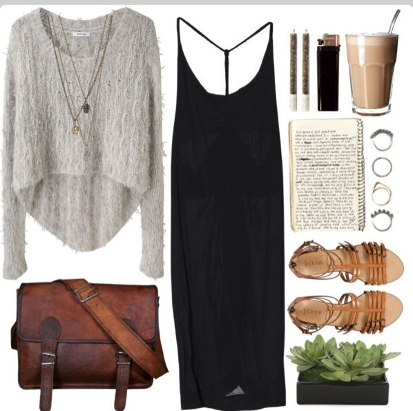 Love the dress with a different sweater and the jewelry not a fan of the bag