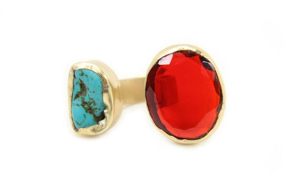 Zariin The Tale of Two Stones Quartz and Turquoise Ring: Available at http://eveadorned.com/collections/zariin