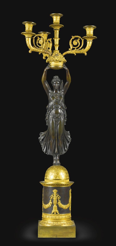 French, circa 1820 - FOUR LIGHT CANDELABRA
