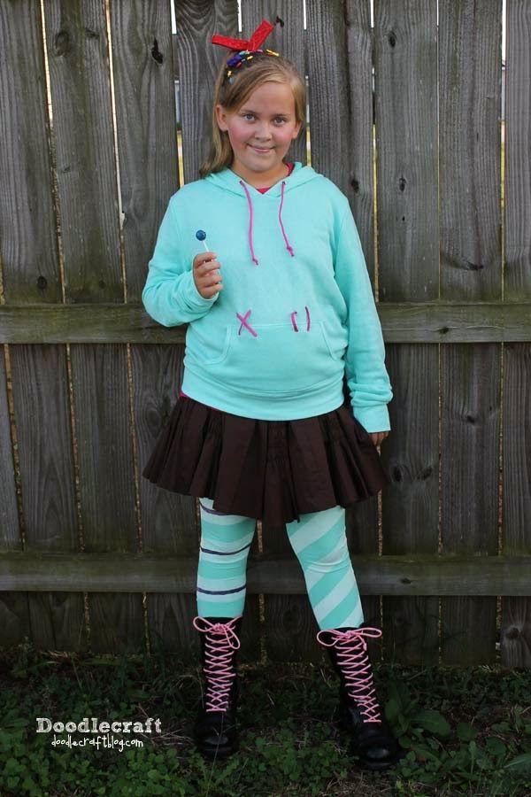 vanellope von schweetz costume easy diy wreckit ralph last minute halloween costume ideas