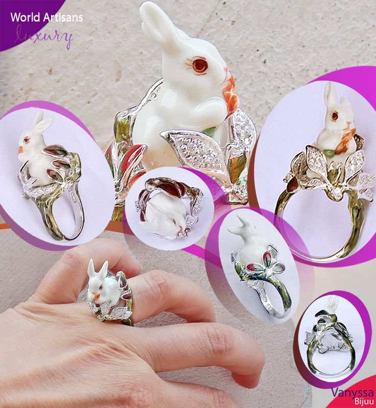 Collector Edition Mushy Eyes White Porcelain Rabbit Sterling Ring