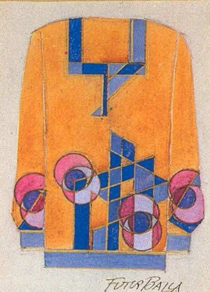 "¤ Considered the father of Futurist fashion, Giacomo Balla began designing textiles and suits in 1912/1913. With asymmetrical cuts and diagonal surface patterns, the brightly coloured outfits were a direct translation of the dynamic ""force-lines"" of his painted canvases"