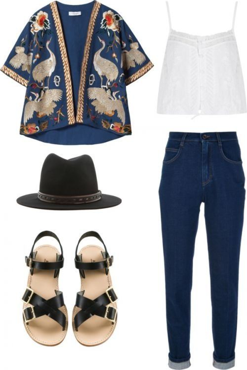 Kimono is cute especially with the cami && hat