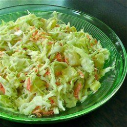 Try with a little less mayo.  We used a full bag of cabbage mix.  Added a small can of crushed pineapple, drained.