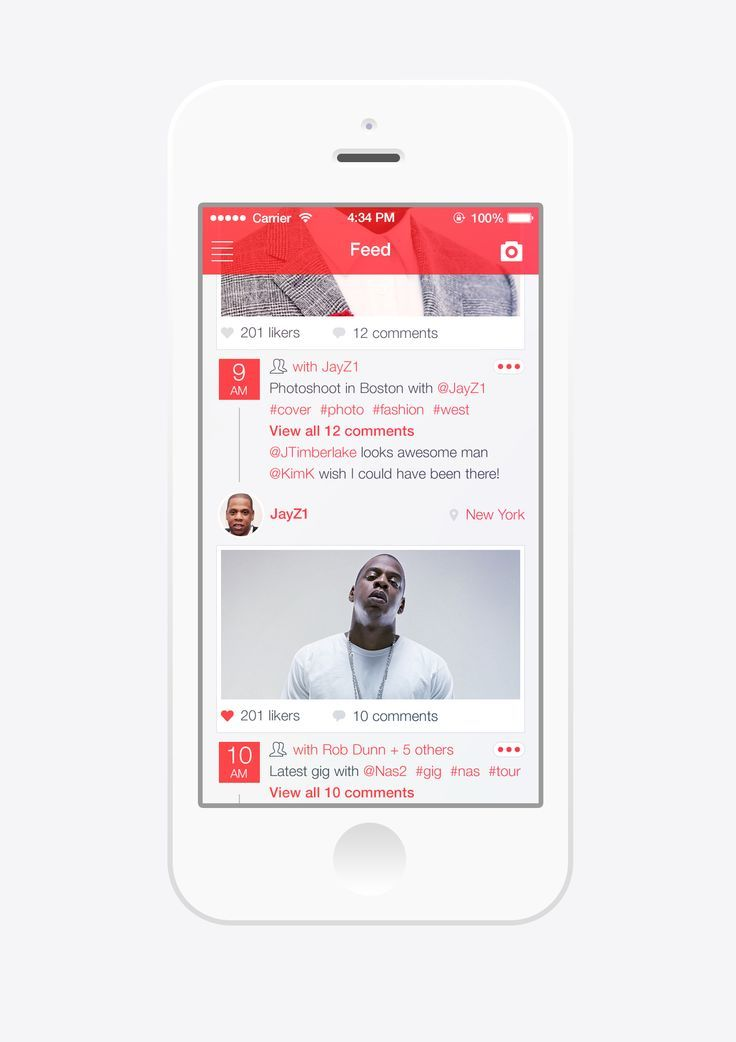 Apple. iPhone. iOS. Simple. Clean. Minimal. White & Red. Concept. Art. App. Feed. Fresh. Beauty. UI / UX. Interface. Flat. Design. Idea. Scroll. Comment. Like. Share. Social.