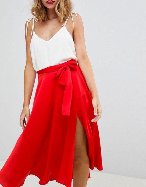 72abee7f63 DESIGN Petite satin midi skirt with self belt in 2019 | Lot28 Shoot ...