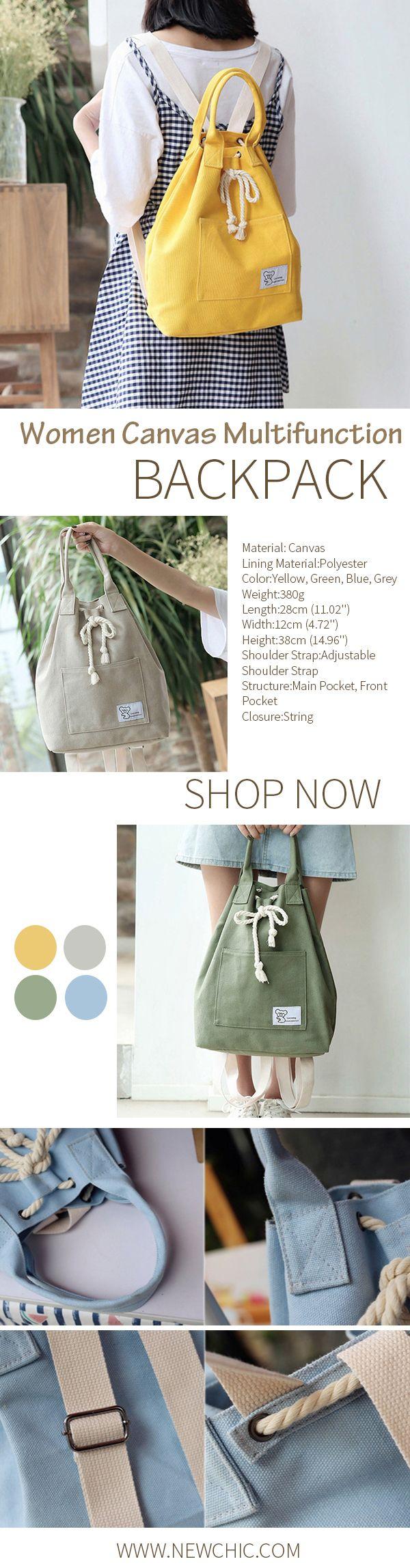 Women Canvas Multifunction Backpack String Large Capacity Waterproof Bucket Handbags