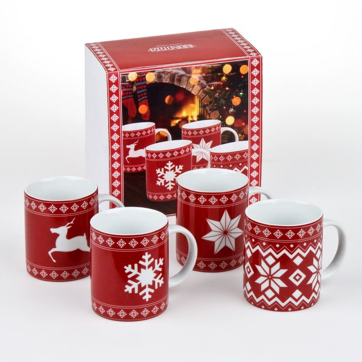 When it's cold outside, nothing is more comforting than a great cup of hot chocolate. Cozy up with your family and enjoy a warm drink from one of our festive Christmas mugs. Traditional Scandinavian red-and-white designs of snowflakes and reindeer, reminiscent of Christmas sweaters.