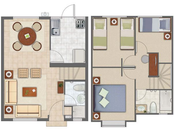 planos de casas pequenas de tres pisos