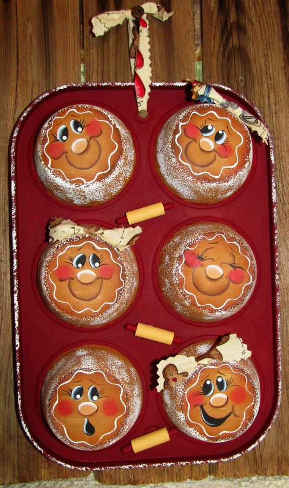 Gingerbread Hand Painted Upcycled Muffin Tin by PaintingByEileen, $18.00