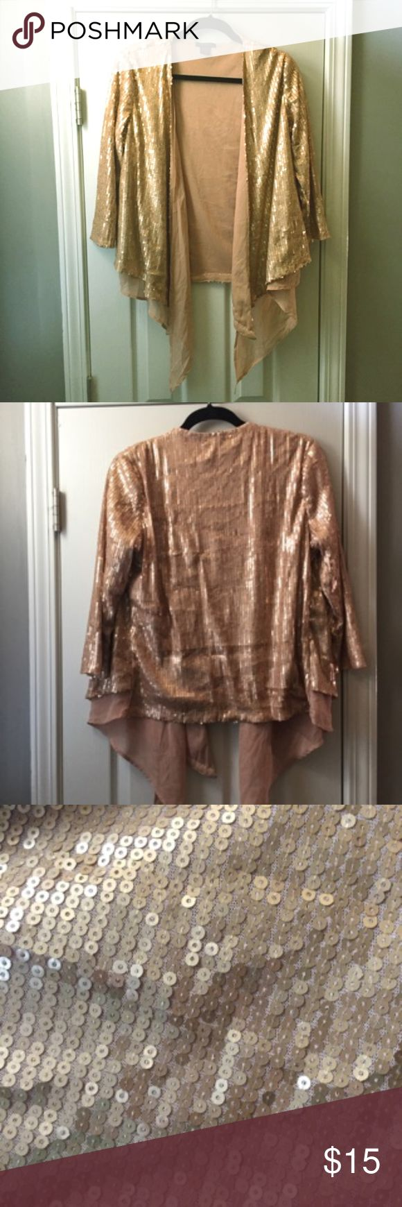 Champagne Gold Sequin Kimono shirt No flaws! This champagne (gold) sequin shirt is like a kimono, with an open front and see-through fabric accents. I also have a black one available, can bundle if interested! :) Tops Blouses