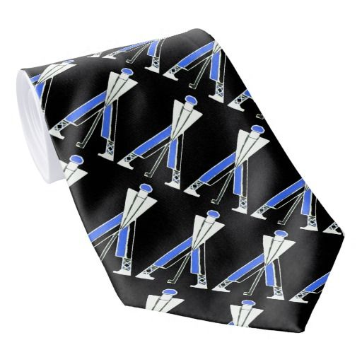 STYLIZED WHITE BLACK BLUE GOLFER ,GOLF PLAYERS NECK TIE #golf #golfplayer #golfer #sport #fashion #sports #golfers